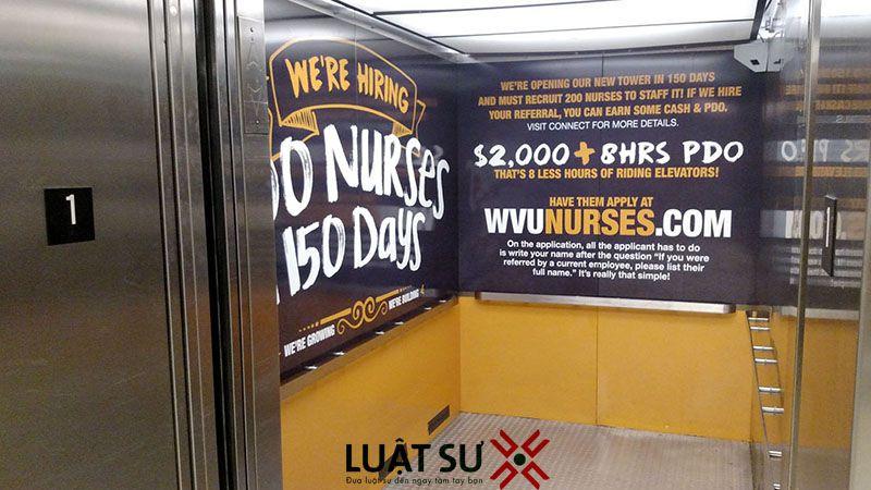Có được phép quảng cáo trong thang máy chung cư?