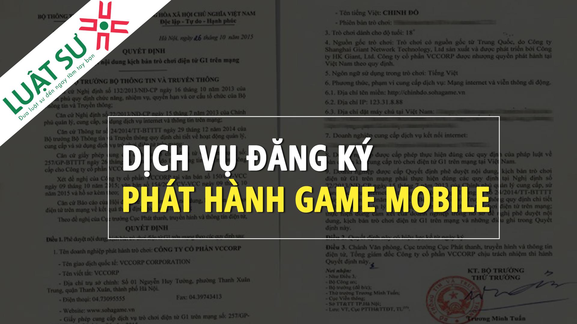Dịch vụ đăng ký phát hành game mobile