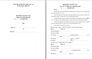 Trang đầu hợp đồng hợp tác kinh doanh cơ bản